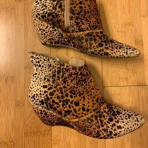 Matisse animal print wedge boots